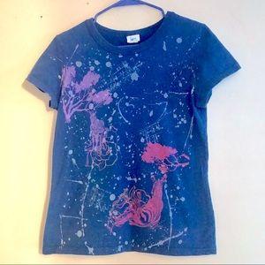 Colorful Splashed Royal Blue W Zebras T Shirt